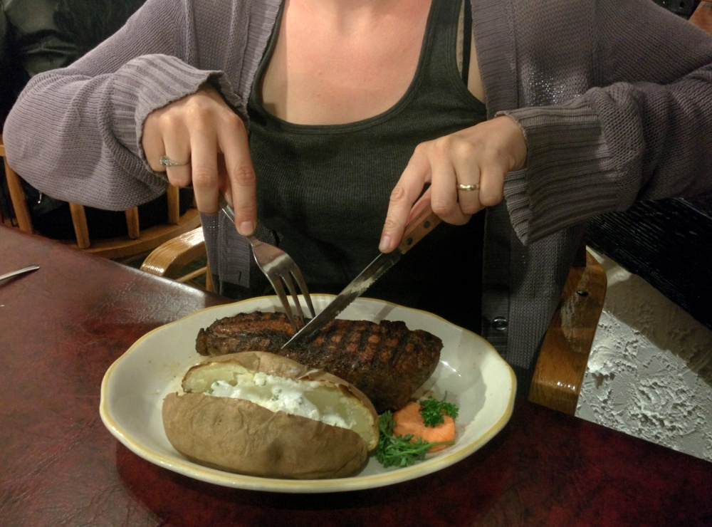 Whitney was so greasy, she wouldn't let me take a picture of her. The steak on the other hand...