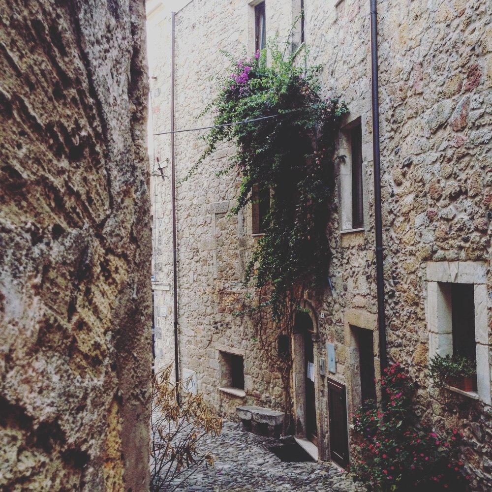 [cobblestone alleyway,Sardinia]