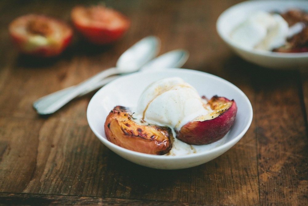Grilled Maple Bourbon Peaches