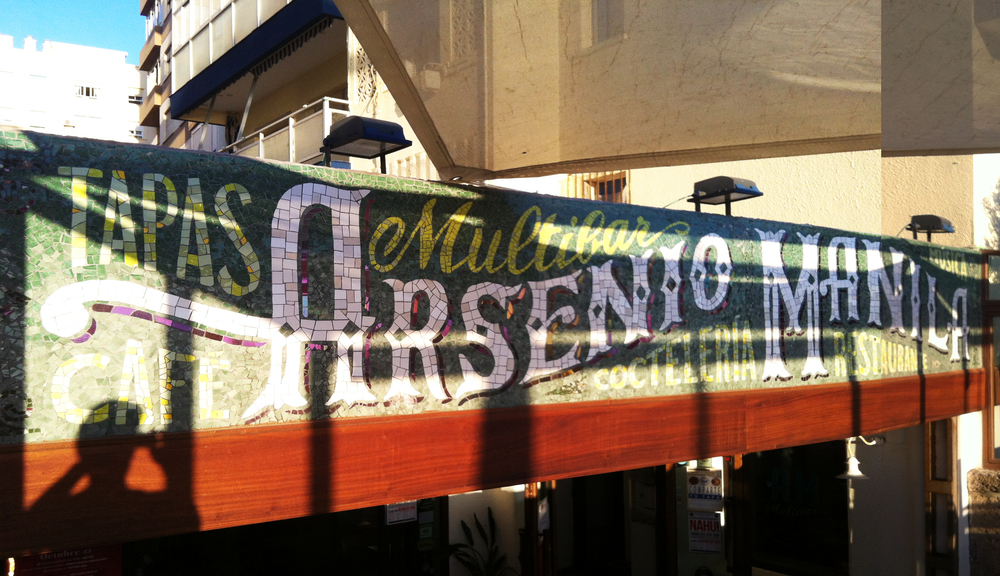 Arsenio Manila - beautiful mosaic lettering for this tapas bar in Cadiz