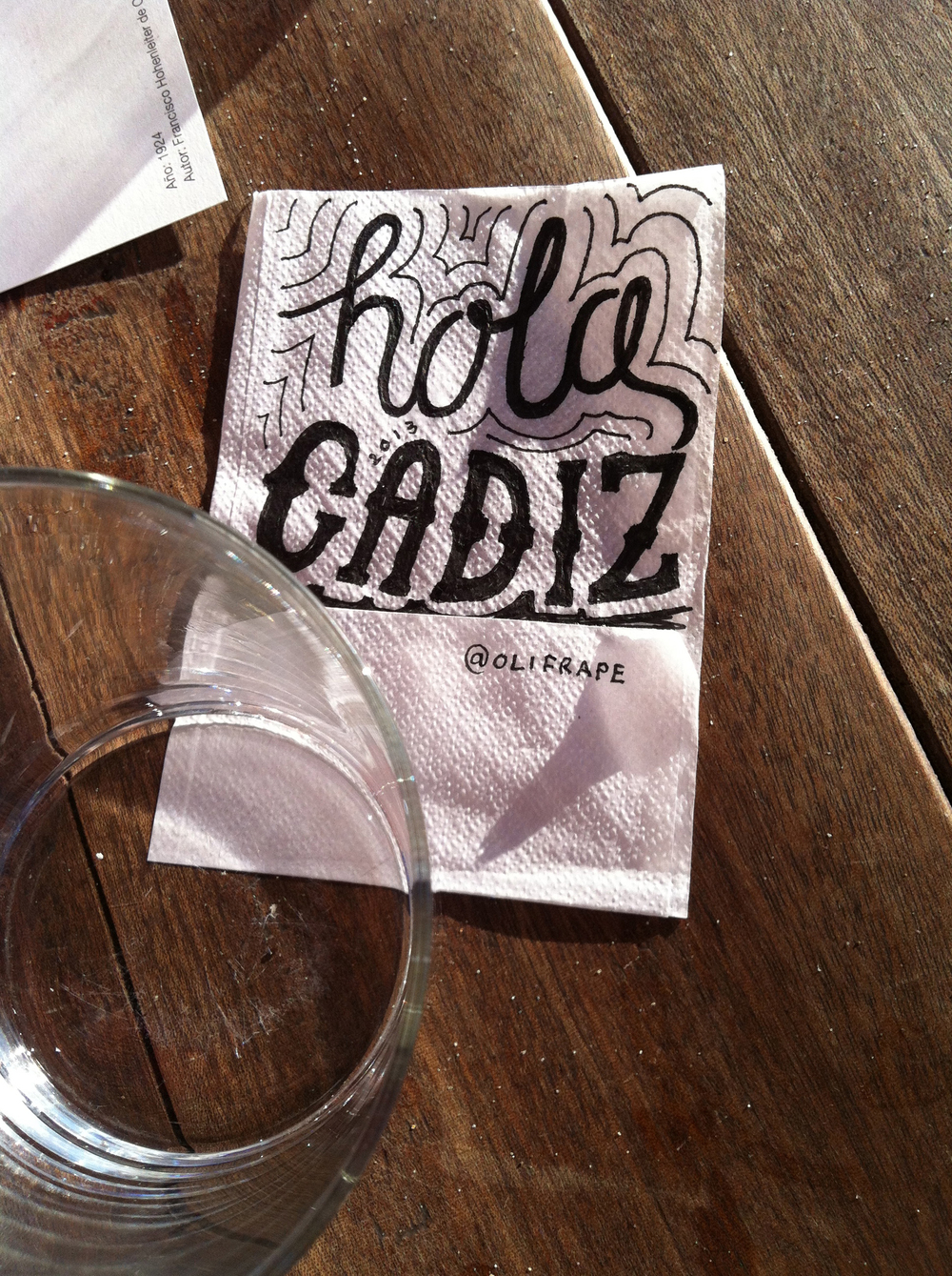 Hola Cadiz - A lunchtime doodle, beachside in a Cadiz bar