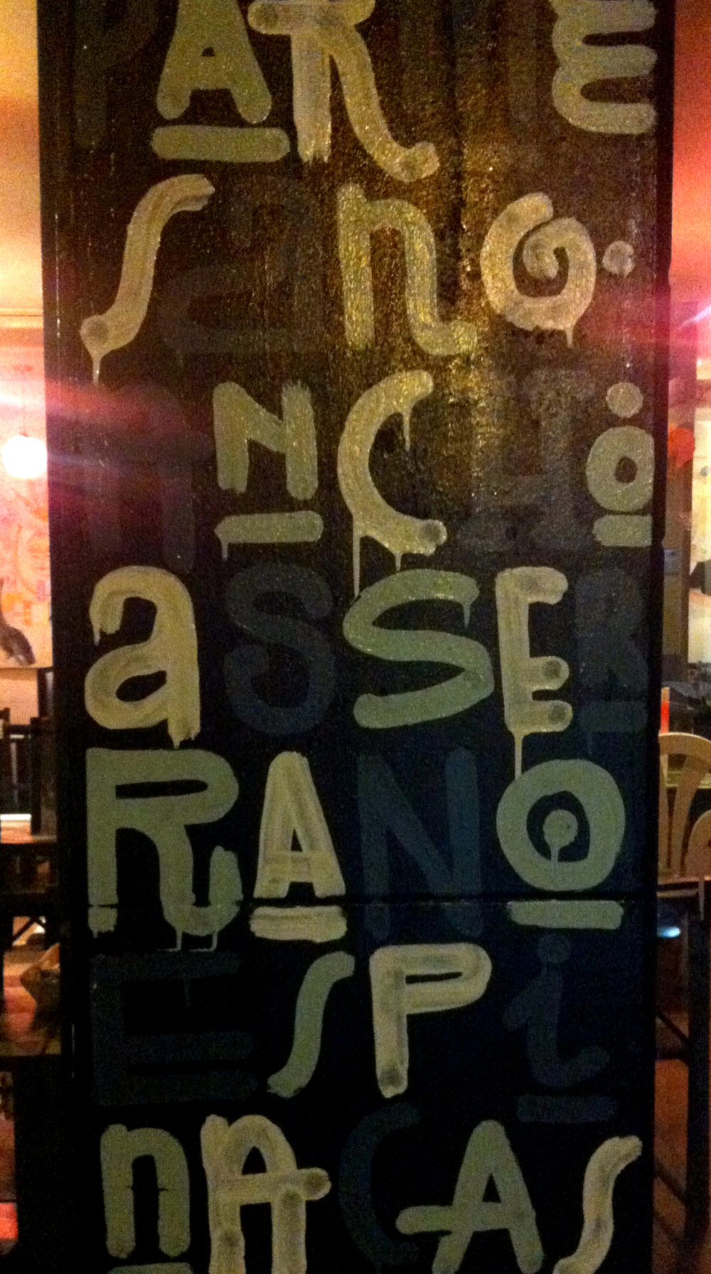 An outside wall panel from an unknown bar in Seville - deep in the party zone!