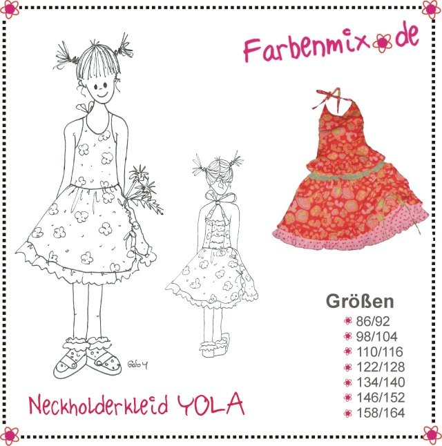 YOLA - halter dress or shirt and skirt GIRLS pattern - by Farbenmix ...