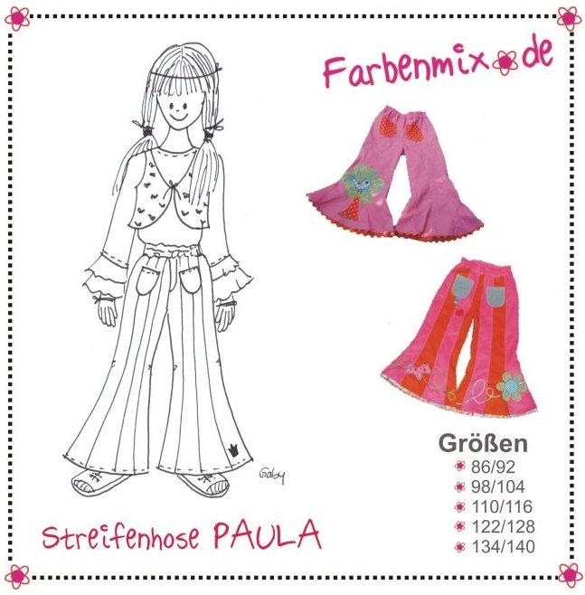 PAULA - strip-work flare trousers GIRLS pattern - by Farbenmix ...