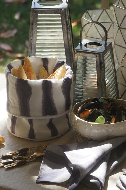 Shibori napkins and bread basket