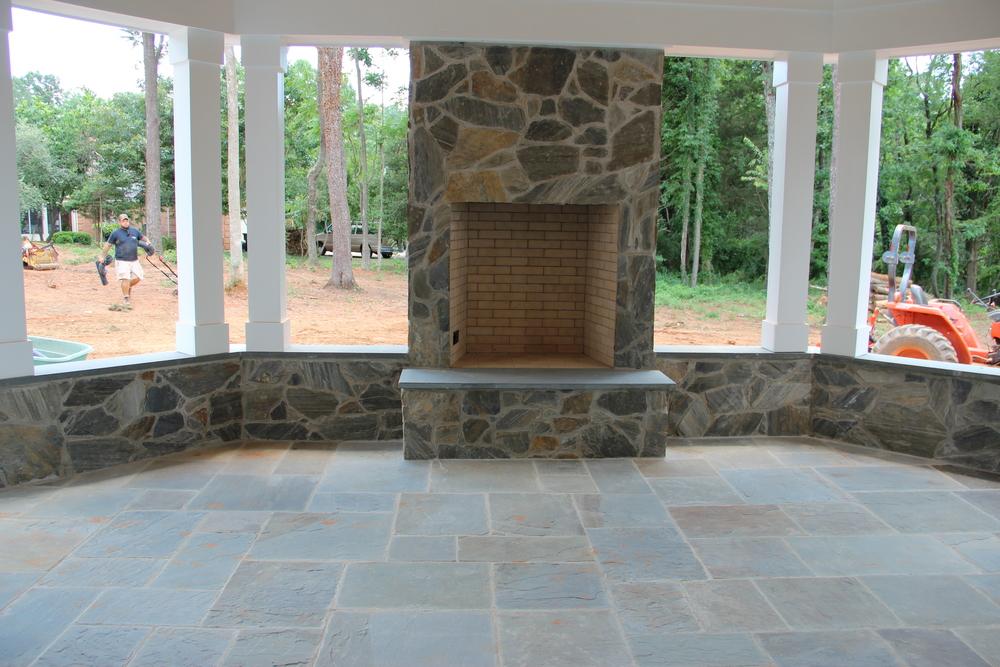 Exterior masonry fireplace