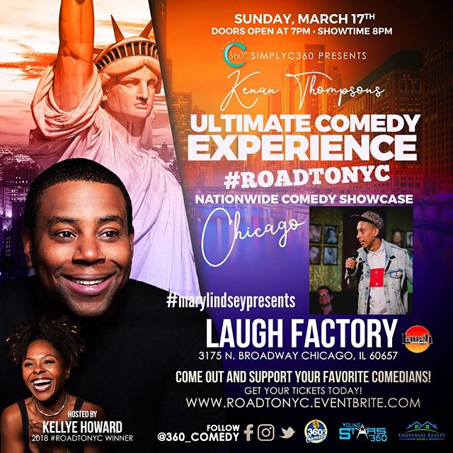 CHICAGO FAMILY! Catch me at the @laughfactory_ch on Sunday, March 17th showcasing for #KeenanThompson Road to NYC! S/O to @MaryellaLindsey for the opportunity. Although it's cold as hell, I'm very excited to hit the stage and be back in the Chi 🥶 #MaryLindseyPresents #ABW