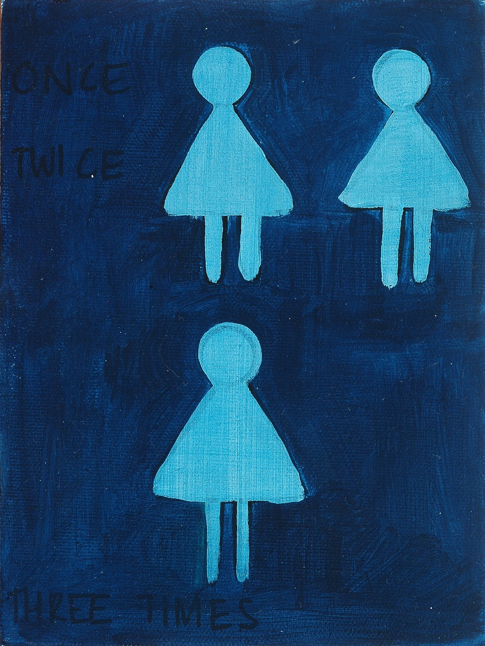 "3 X A Lady. 2008. Oil on Canvas. 8"" x 6"""