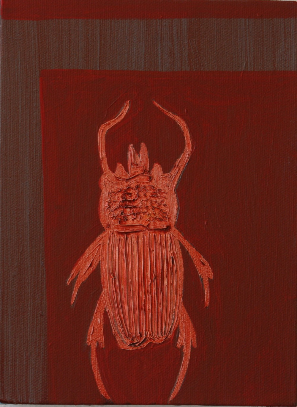 "Beetle. 2008. Oil on Canvas. 8"" x 6"""