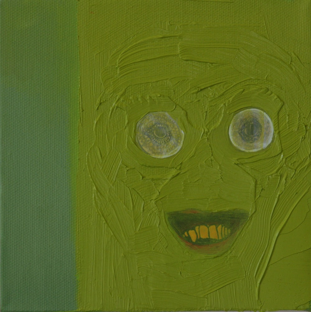 "New Glasses. 2008. Mixed Media on Canvas. 6"" x6"""
