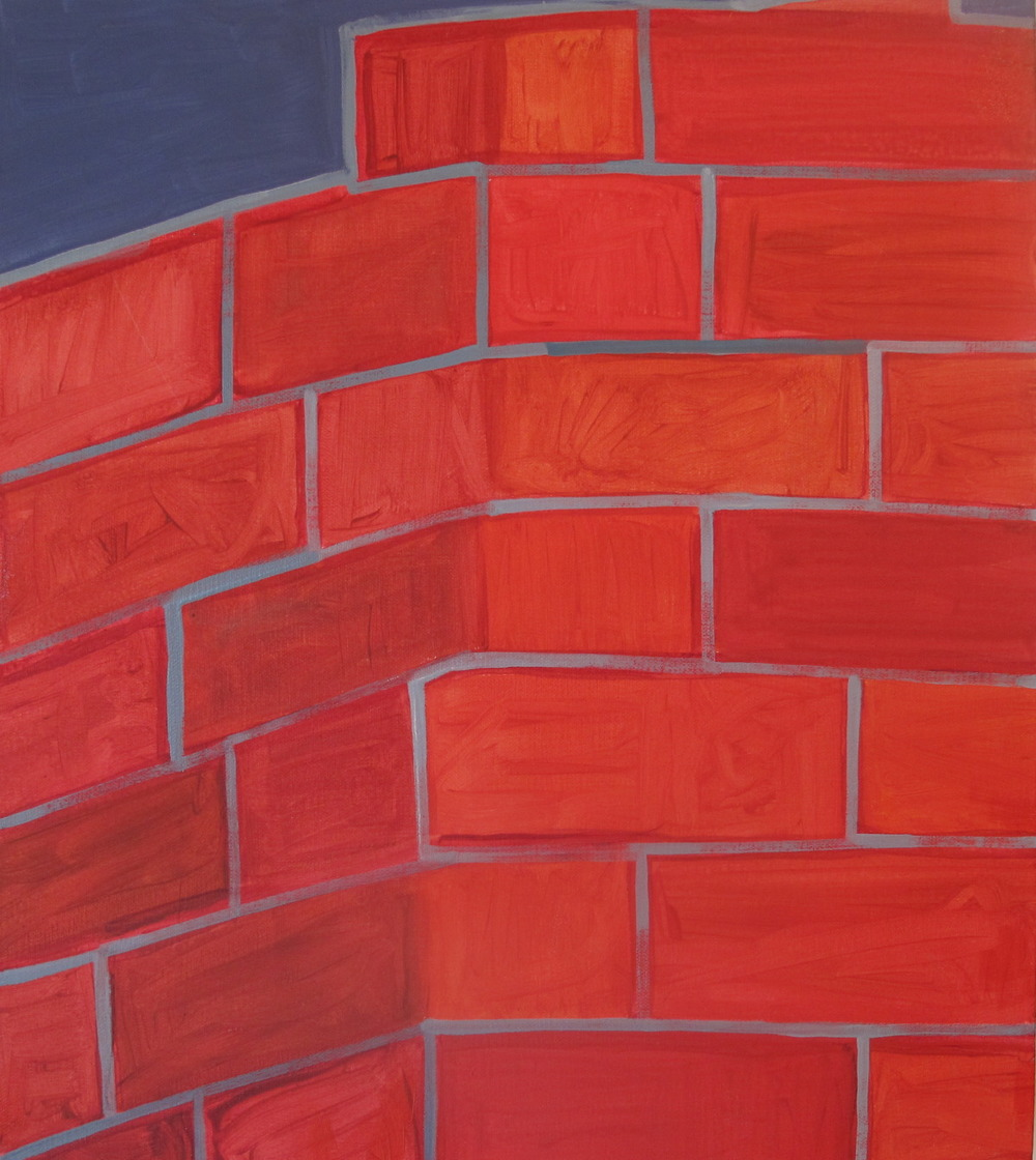 "Bricks. 2009. Oil on Canvas. 16"" x 14"""