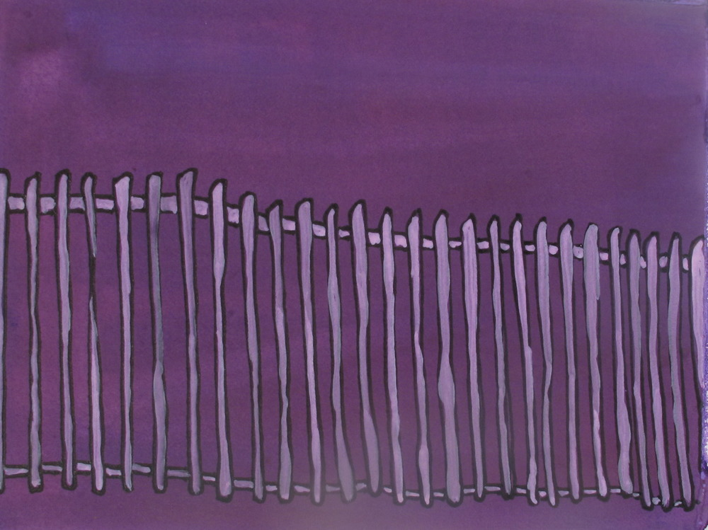 "Fence. 2003. Ink and Gouache on Paper. 6"" x 9"""
