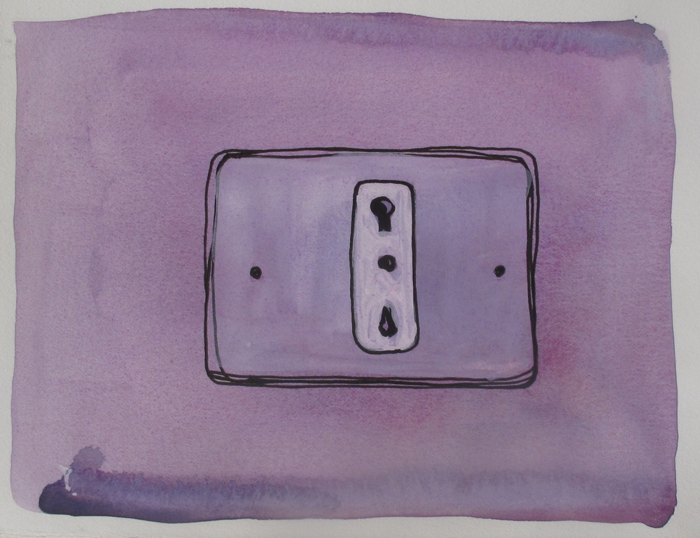"Outlet. 2003. Ink and Watercolor on Paper. 9"" x 6"""