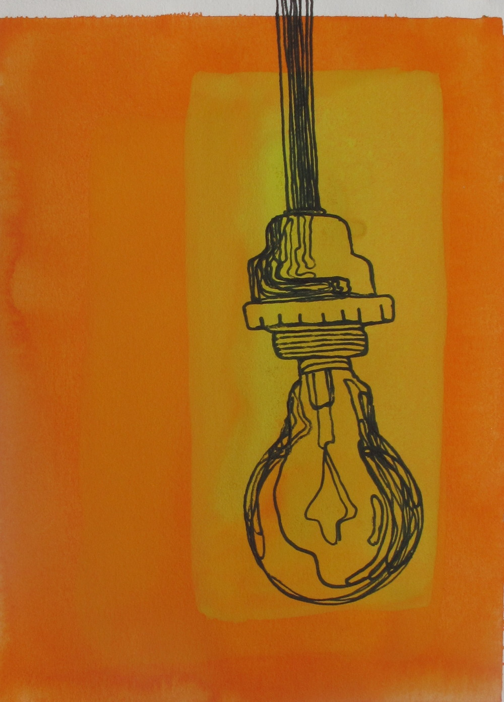 "Light. 2003. Ink and Gouache on Paper. 6"" x 4"""