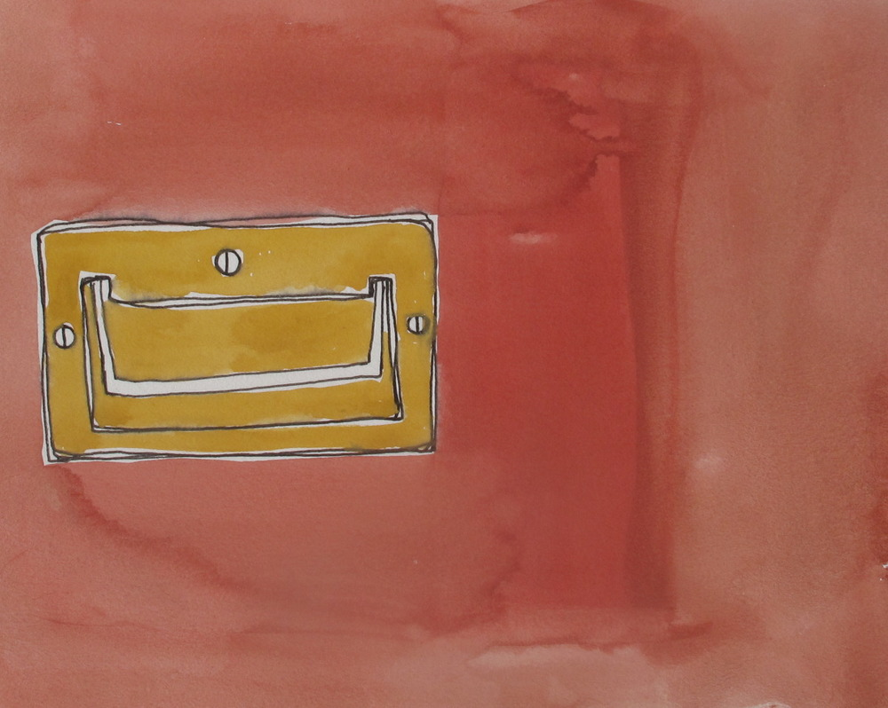 "Handle. 2003. Ink and Gouache on Paper. 6"" x 9"""