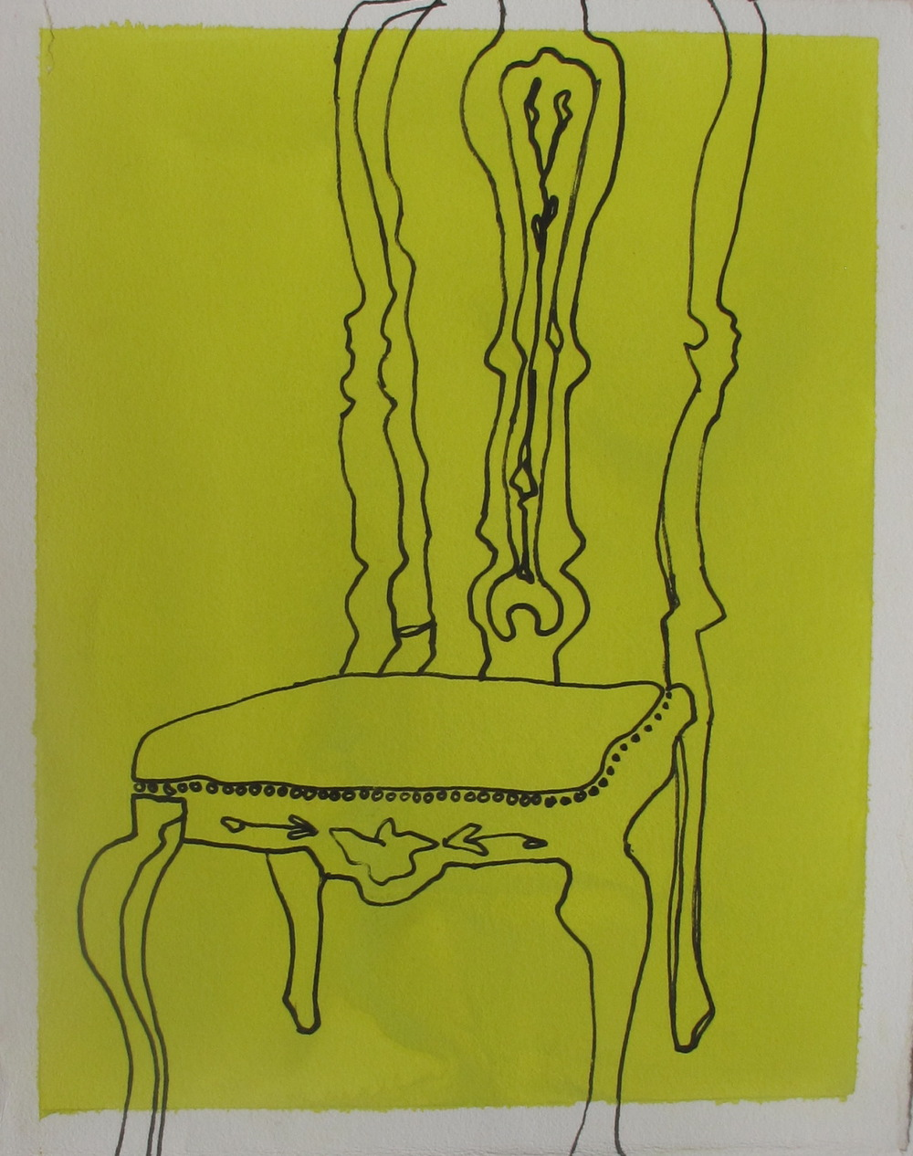 "Chair. 2003. Ink and Gouache on Paper. 9"" x 6"""