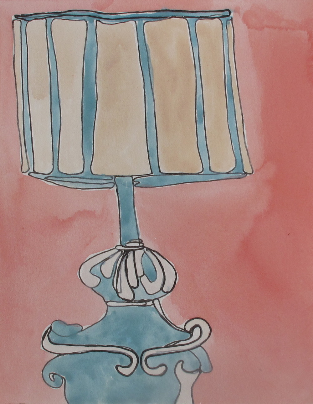 "Lamp. 2003. Ink and Watercolor on Paper. 6"" x 4"""