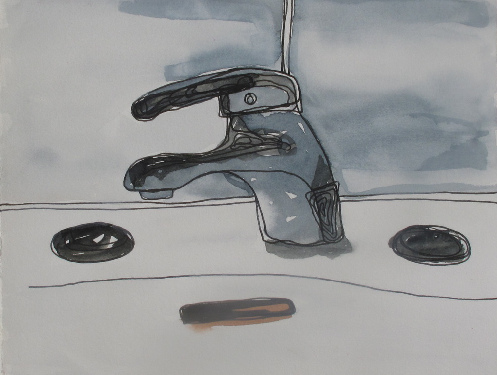 "Sink. 2003. Ink and Watercolor on Paper. 6"" x 9"""