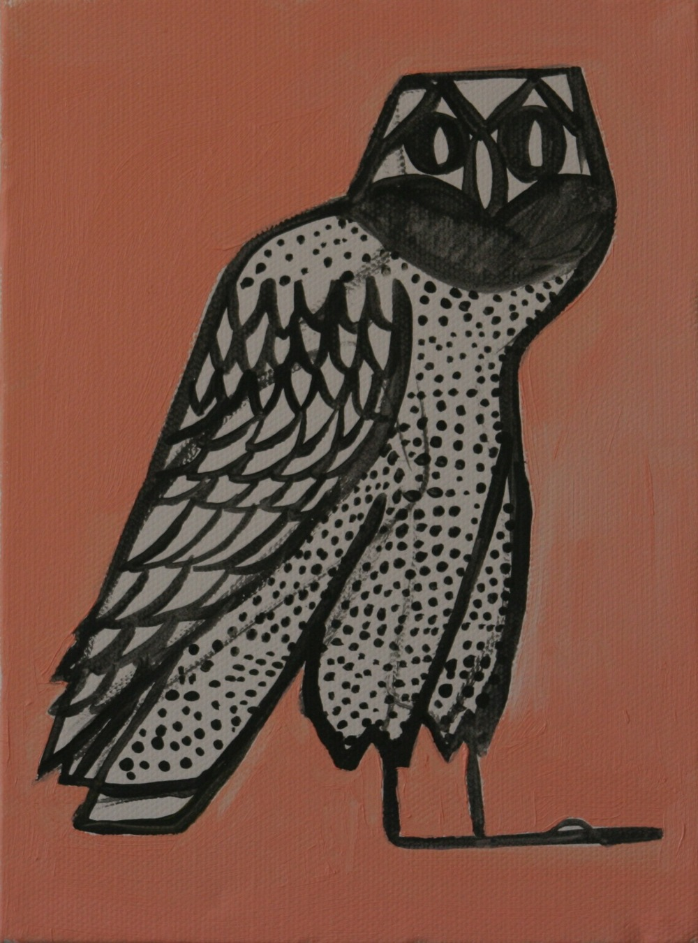 "Owl. 2008. Acrylic on Canvas. 8"" x 6"""