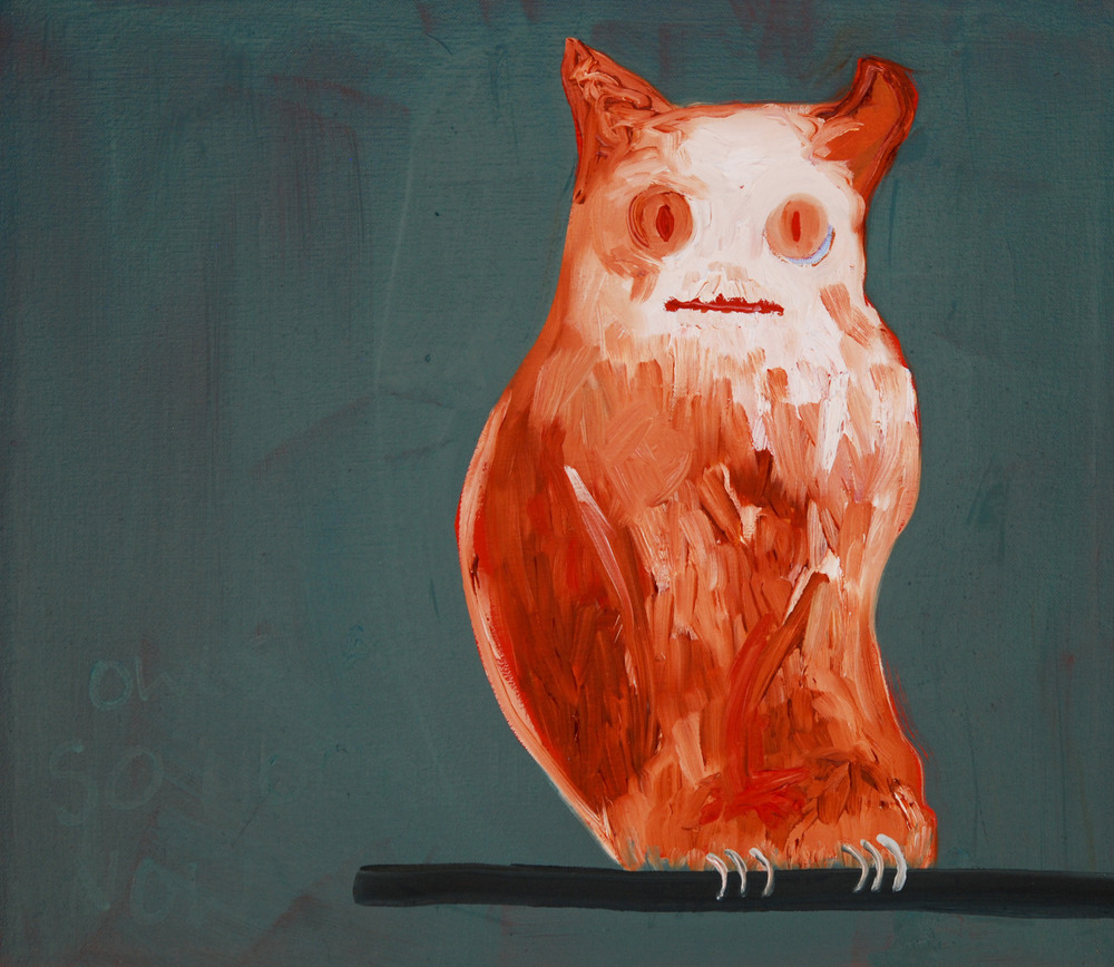 "Owls Are So Hot Right Now. 2009. Oil on Canvas. 18"" x 22"""