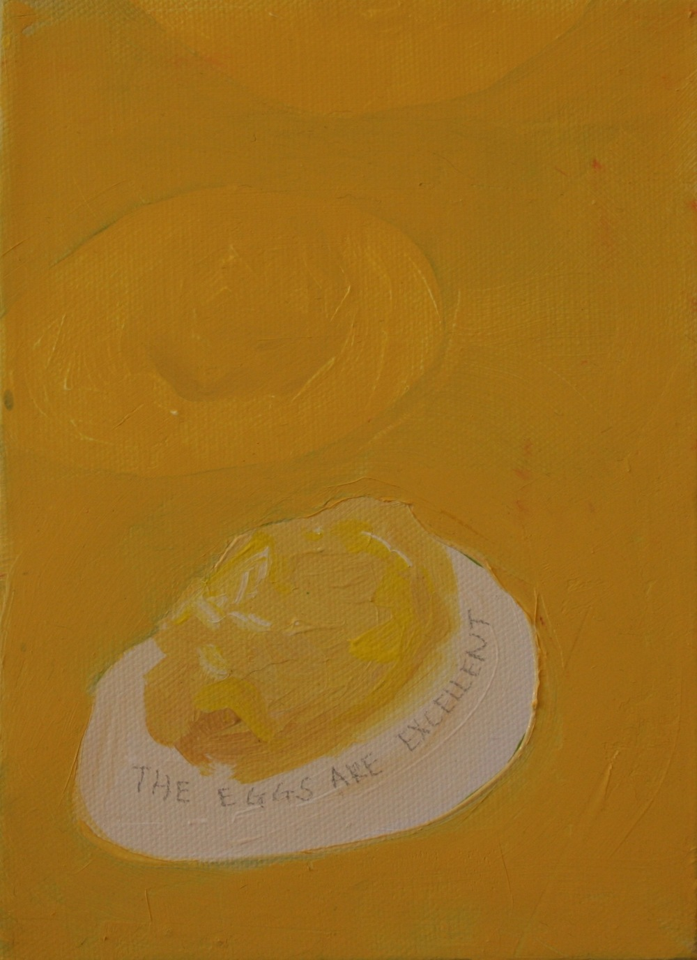 "Eggs. 2008. Oil on Canvas. 8"" x 6"""