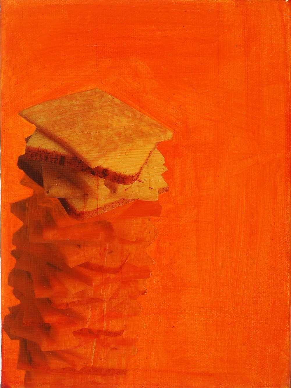 "Cheese. 2008. Mixed Media on Canvas. 8"" x 6"""