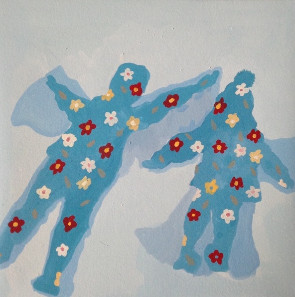 "Snow Angels. 2014. gouache on paper. 6"" x 6"""