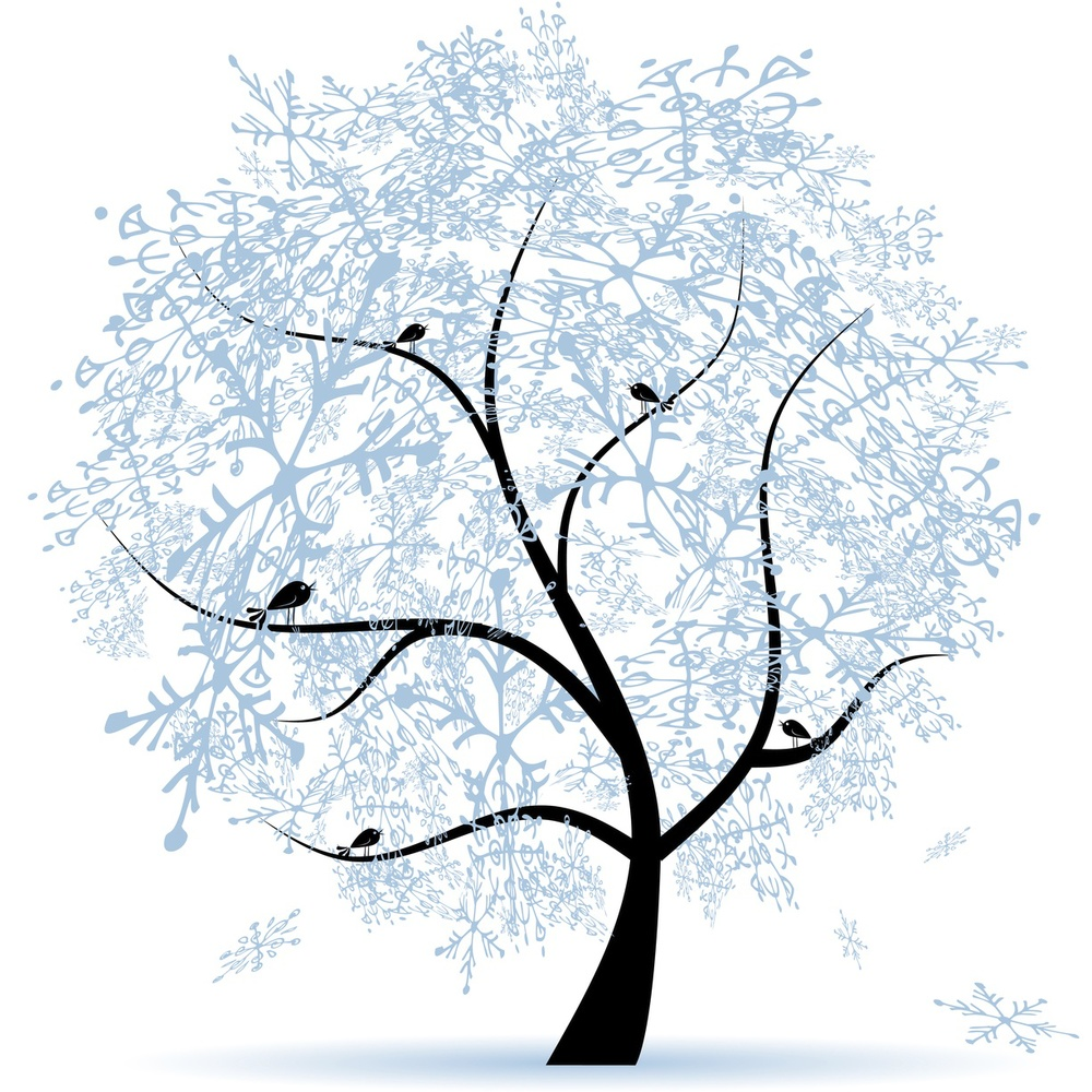 Winter tree, snowflakes. Christmas holiday. (1).jpg