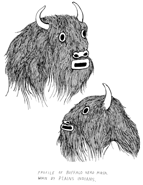 frohawk two feathers buffalo heads - Outside The Lines Coloring Book