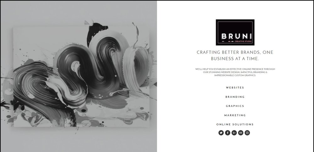 Bruni Creative Studio | Squarespace Cover Page with branding, headings, navigation, video and mobile fallback image.
