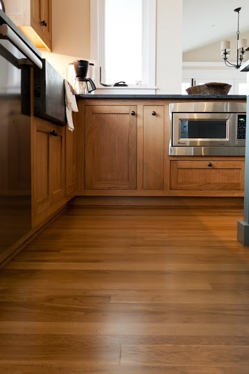 Premium solid oak flooring in a lovely kitchen.