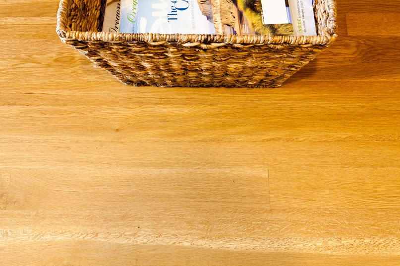 Premium Oregon White Oak with a basket of magazines
