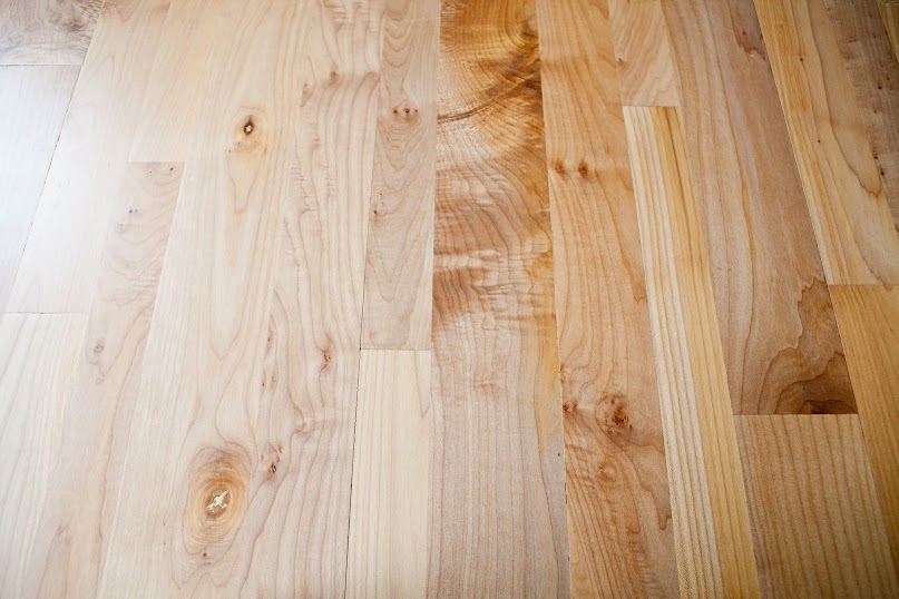 This picture shows off the look of our variable width western maple flooring.