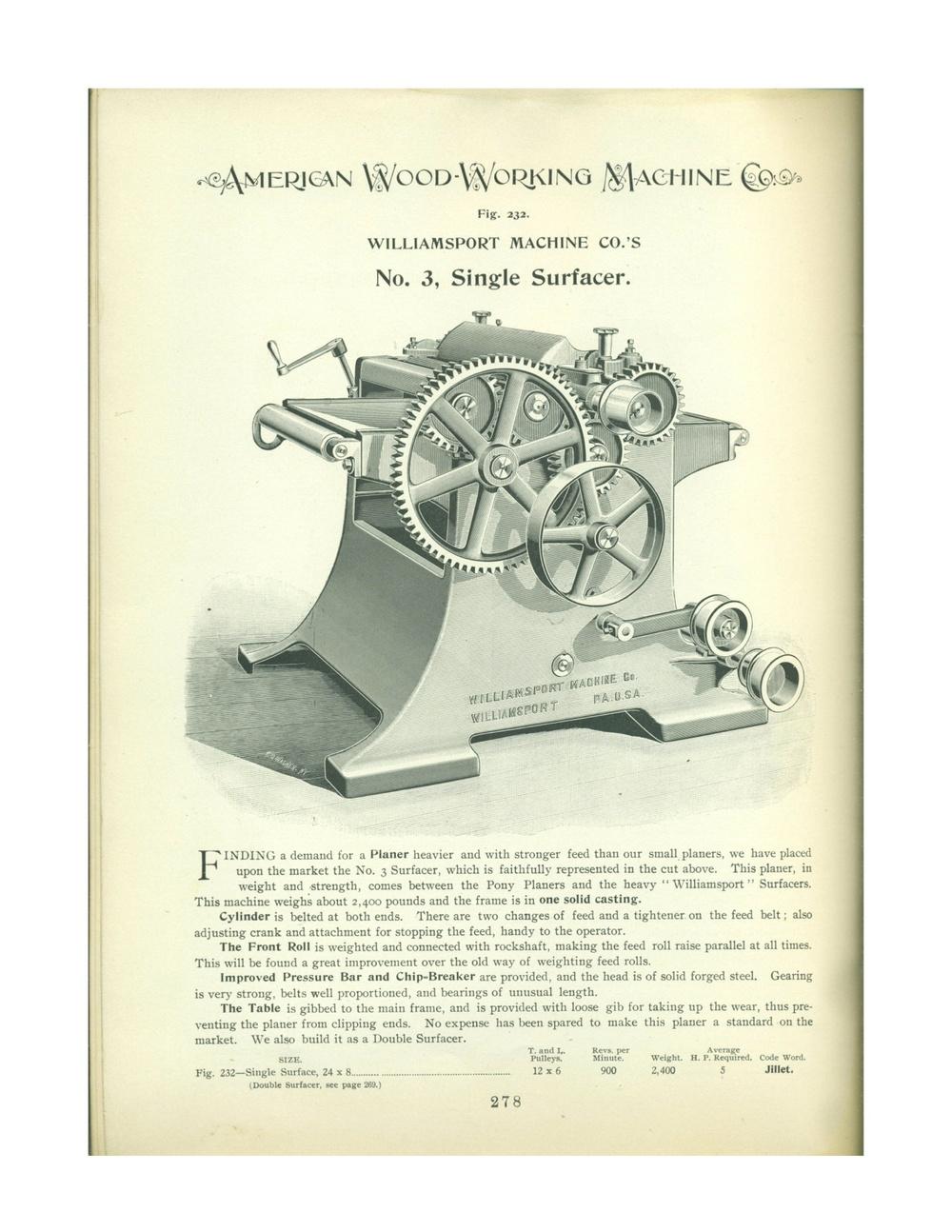 From 1900 American Woodworking Machinery Company catalog