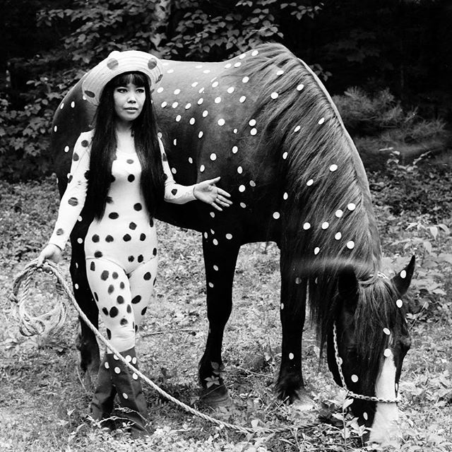 "Our heroine Yayoi Kusama in her ""Horse Play"" happening, Woodstock, NY, 1967. Keep spreading peace and love!⠀ .⠀⠀ .⠀⠀ .⠀⠀ #oroandco #graphic #yayoikasuma #graphicdesign  #art #pattern #form #shape #designdetails #graphicdesigner #designagency #london #dots #polkadots"