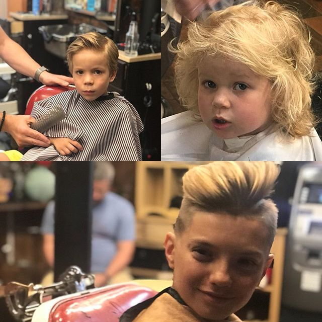 Kids looking sharp at West Village Tonsorial #kidscuts #blondehair #soccergame #barbershop #highlights #Haircut #allageswelcome #coolcuts4kids #coolcuts #brotherandsister #siblings #happykids #kids