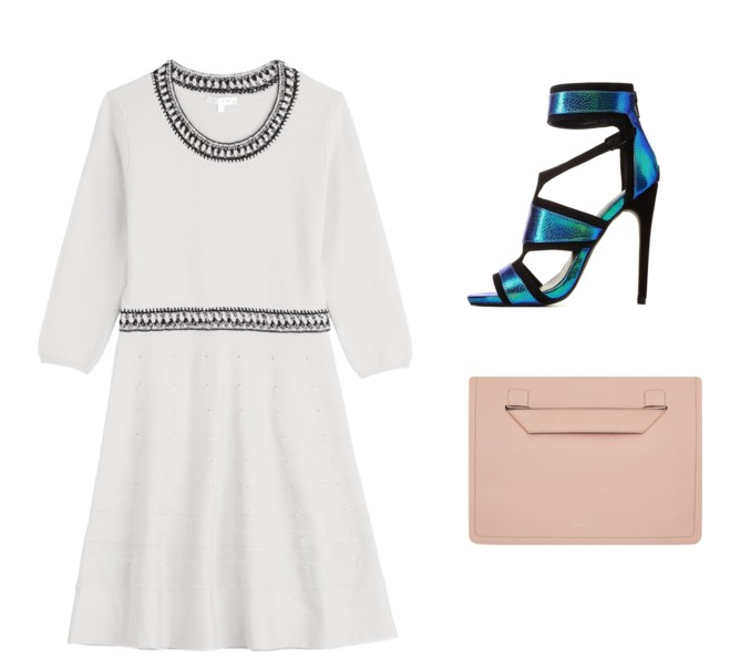 Dress, Paule Ka $384 / Shoe, Charlotte Russe $64 / Clutch, Karen Millen $190