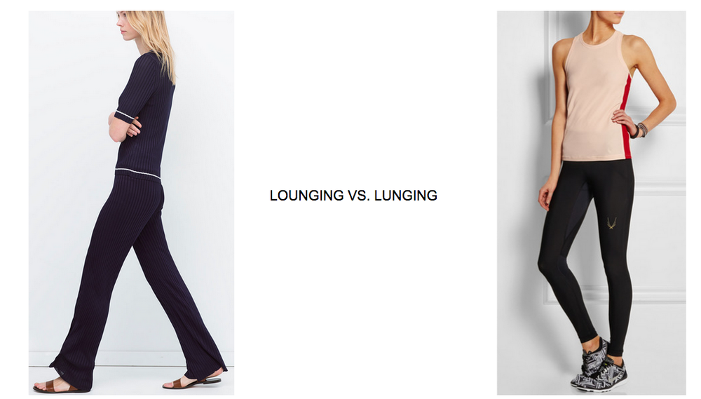 Ribbed knit pant + top ZARA / Breathable mesh racerback Tank LAAIN / Running pant Lucas Hugh