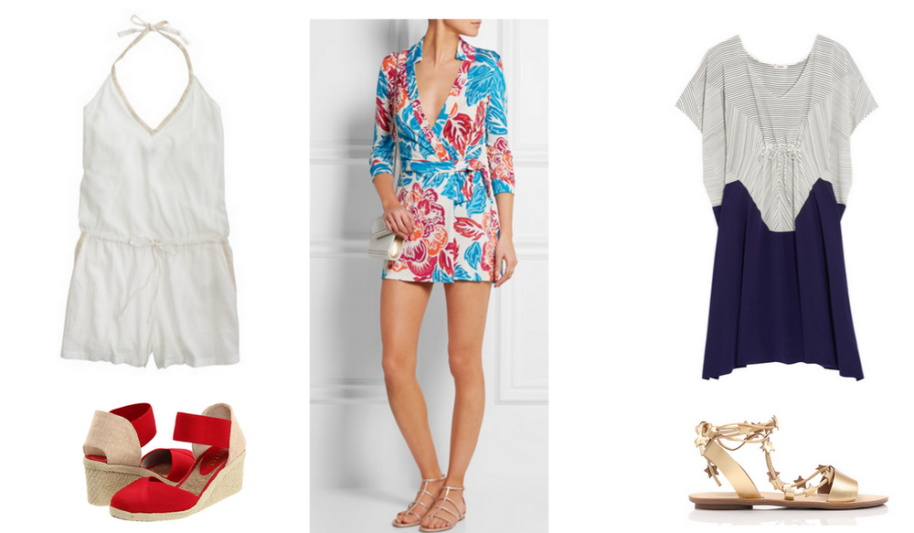 White romper JCrew / Espadrille Wedge Lauren by Ralph Lauren / Multi-colored jumper DVF / Kaftan Eres / Star spangled gladiator flat Loeffler Randall