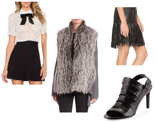 Lace Top,  The Kooples  / Fur Sweater,  Kobi Halpern  / Fringe Skirt  L'Agence  / Strappy Sandal  Balenciaga