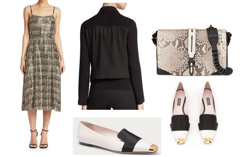 Dress Tanya Taylor / Perfectly cropped jacket Bailey 44 / Clutch Rag & Bone / Dancing Shoes Bally