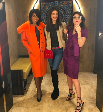Much better! Rhonda Walker resplendent in the show-stopping coat of the season and model Venessa Mekled @veemekled is the signature belt.