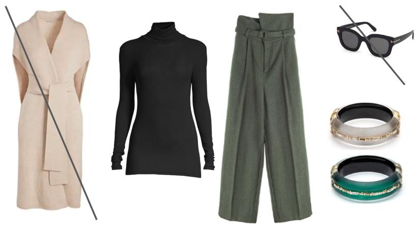 Sweater Coat:  MM.LaFleur  / Turtleneck:  ATM  / Pant:  The Frankie Shop  / Sunnies:  Tom Ford  / Bangles:  A.Bittar