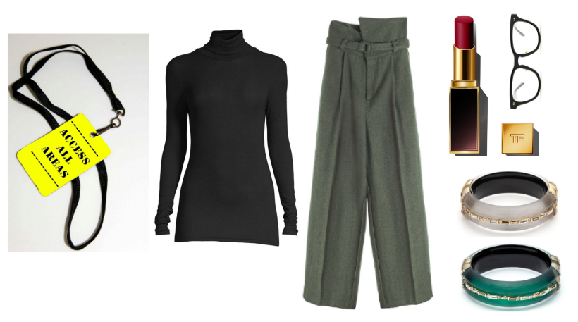 Turtleneck:  ATM  / Pant:  The Frankie Shop  / Specs:  Native Ken  / Lipstick:  Tom Ford  / Bangles:  A.Bittar