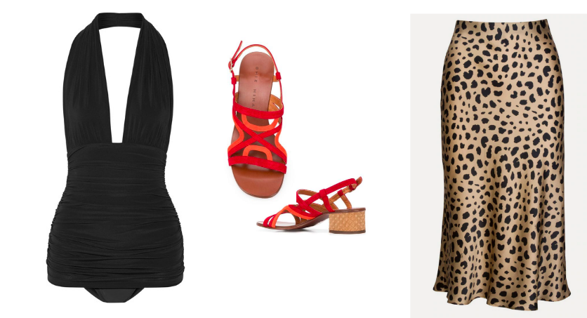 Swimsuit  Norma Kamali  / Sandals  Chie Mahara  / Skirt  Realisation Par