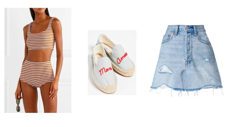 Bikini  Solid and Stripe / Slip-Ons  Soludos / Denims Skirt  Levi's