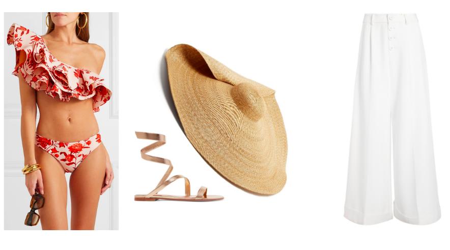 Bikini  Johanna Ortiz  / Sandals  Gianvito Rossi  / Sun Hat  Jacquemus  / Trouser  Alice & Olivia