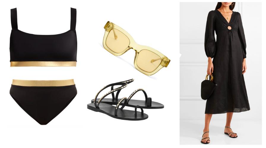 Bikini  Solid & Striped  / Sandals  Ancient Greek Sandals  / Sunglaases  Apercueyewear  / Dress  Zimmerman