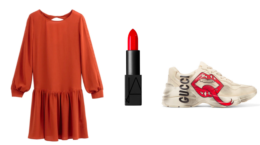 Is the shoe too much? Freestyling but you get the gist - Dress /  LaRedoute  LIpstick /  NARS  / Sneaker /  GUCCI