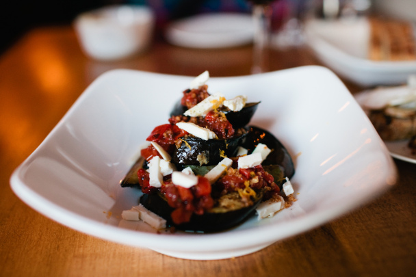 roasted eggplant salad, tomato, sicilian oregano, smoked ricotta, orange, extra virgin olive oil